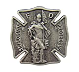 Fine Pewter Catholic Patron of Firefighters Saint Florian Shield Shaped Medal Lapel Pin, 1 Inch