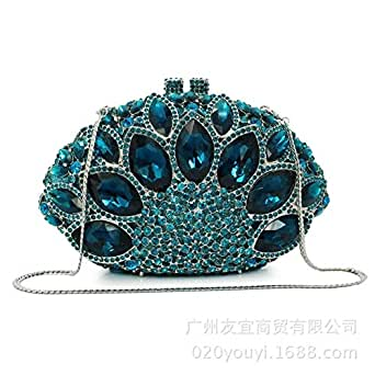 Honana Party Bags for Women Lady Rhinestone Dinner Bag Lady Handmade Bags Elegant Banquet Clutch Bag Shoulder Chain Bag Dress Hard Shell Gift Cosmetic Case Women's Fashion (Color : A)