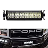 iJDMTOY Behind Lower Grille Mount 12-Inch LED Light Bar Kit For 2017-up Ford Raptor, Includes (1) High Power LED Lightbar, Mesh Grill Mounting Brackets & On/Off Switch Wiring Kit
