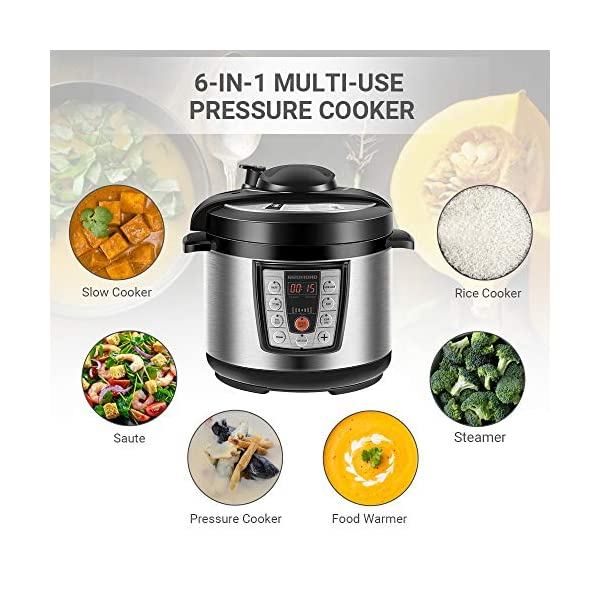 REDMOND Electric Pressure Cooker,5 Quart Multicooker 6-in-1 Multi-Use Programmable for Slow Cooker, Rice Cooker, Sauté… 2