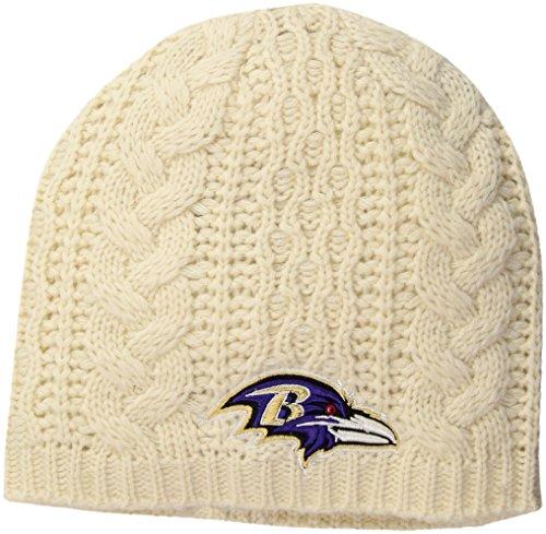 OTS NFL Baltimore Ravens Women's Waco Beanie Knit Cap, Natural, Women's