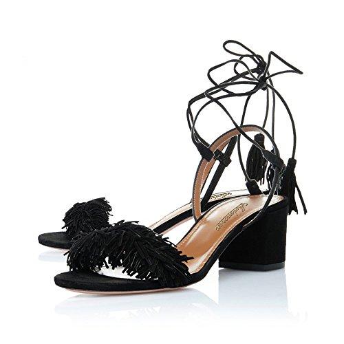 Modemoven Women's Open Toe Tassel Block Heeled Sandals Ladies Self-tie Mid Heels Shoes 6.5CM Black discount pay with paypal newest online explore sale online outlet huge surprise discount websites dRBAQ