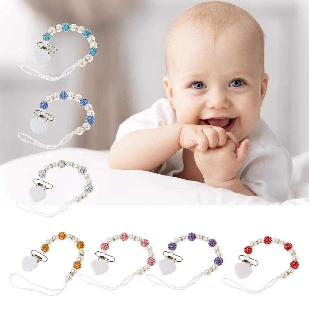 Junlintoo Baby Bling Pacifier Chain for Nipple Chupetas para Bebe Candy Pacifier Clip Chain Pacifier Holder Chain Pink