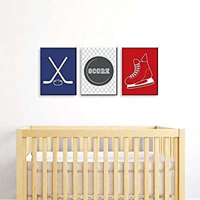 Shoots and Scores - Hockey - Sports Themed Nursery Wall Art, Kids Room Decor and Game Room Home Decorations - 7.5 x 10 inches - Set of 3 Prints