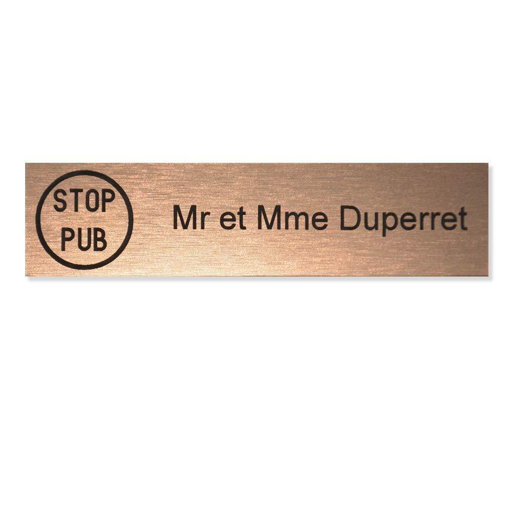 cuivre lettres noires 1 ligne Plaque boite aux lettres STOP PUB Edelen 99x24mm