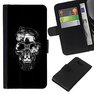 EJOY---La carpeta del tirón la caja de cuero de alta calidad de la PU Caso protector / Samsung ALPHA G850 / --Calavera de Cristal Negro Plata Death Metal