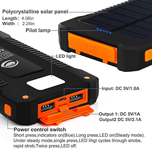 Solar Phone Charger Fkant 10000mah Portable Battery