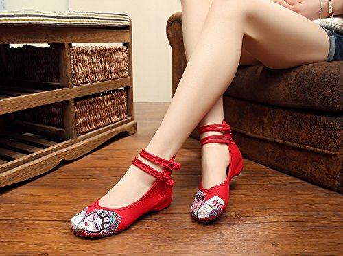 excellanyard red 31 de Bordado Jane Mujer Mary Casual zapatos 8xr8RBqv