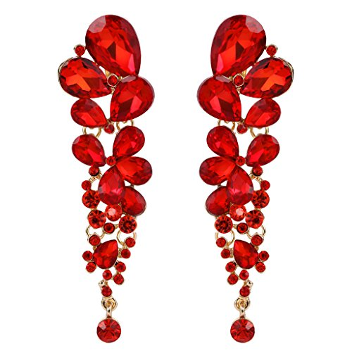 Red And Gold Tone Earrings - 1
