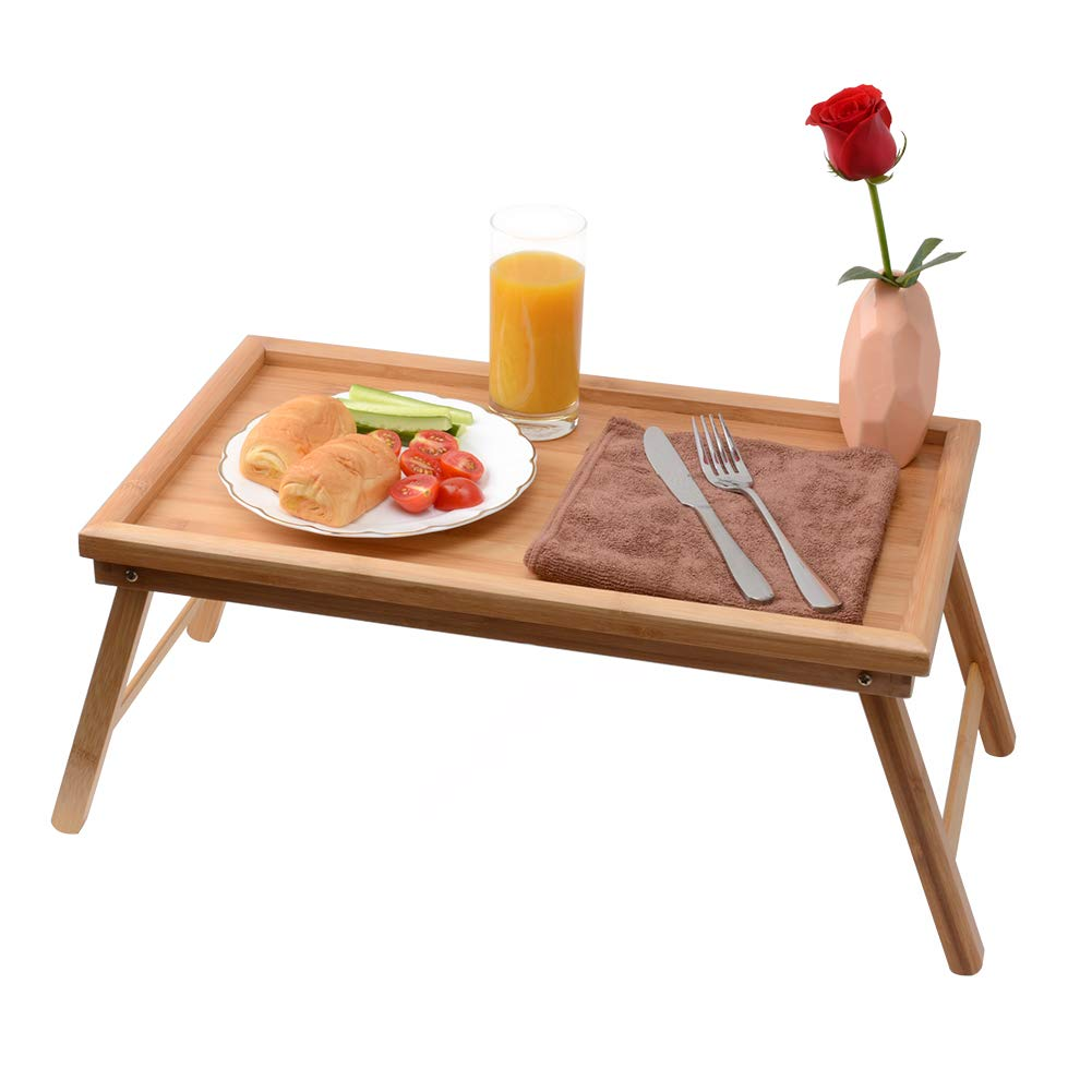 Zhuoyue Bed Tray with Foldable Legs Great for Laptops,Bamboo Table Suitable for Breakfast and Snak locks in place perfectly by
