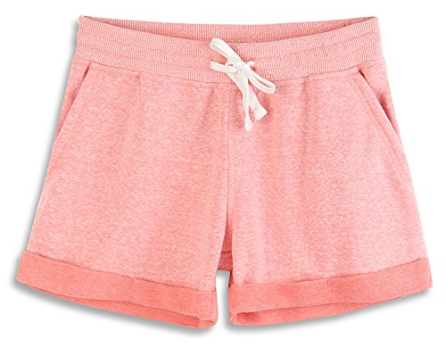 HARBETH Women's Juniors Cotton Slim Fit Stretch Activewear Casual Lounge Shorts Pink Melange M