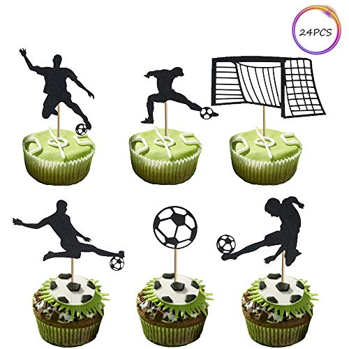 Set of 24 Soccer Goal Cupcake Toppers Football Cupcake Topper for Theme Party Birthday Party Wedding Party Decorations (Football Cup Cake Topper)