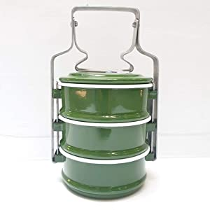 Tiffin Lunch Box Thai Enamel Bento Food Carrier Container Pinto Enamelware Green