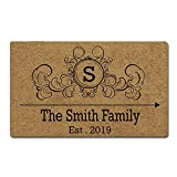 Artsbaba Custom Family Name Personalized Doormat Monogrammed Letter Door Mat Rubber Non-Slip Entrance Rug Floor Mat Funny Home Decor Indoor Mat 30 x 18 Inches, 3/16' Thickness