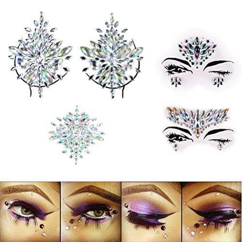 EASYG BODY STICKERSCrystal Face decorationTearsGemBindiTemporary StickersMermaid Face Crystal Sticker Tattoo-(set of 4)