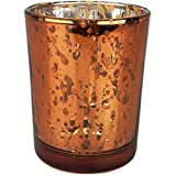 Just Artifacts (Bulk) Mercury Glass Votive Candle Holder 2.75''H (100pcs, Speckled Copper) - Mercury Glass Votive Tealight Candle Holders for Weddings, Parties and Home Décor