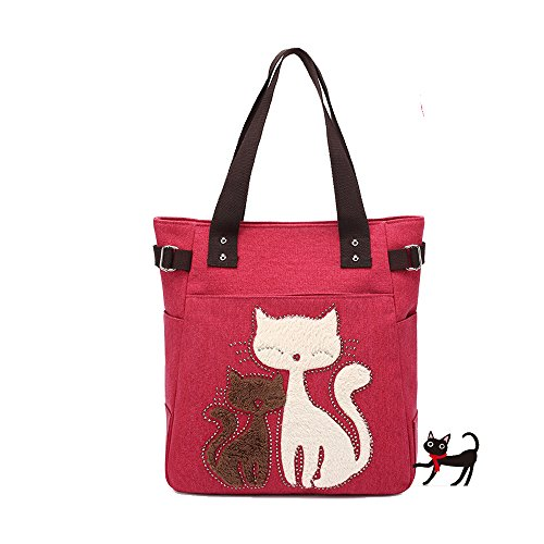 Back to School Deals 2017--Valentoria® Cute Cat Design Multifunction Women's Canvas Zipper Closure Handbag Shoulder Lunch Tote Bag with Large Capacity Best Gifts for Teen Girls(Red)