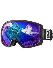 ALLROS Gafas de Esquí, Máscara Gafas ski Snowboard, OTG, Anti-Niebla y UV400, para Snowboard, esquí, Skating y Otros Deportes de Nieve