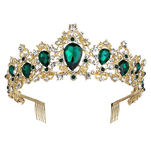 Sweet Princess Pink Crowns for Women Girls Crystal Rhinestone Queen Costume Party Festival Wedding Tiaras Headbands (Gold Green)