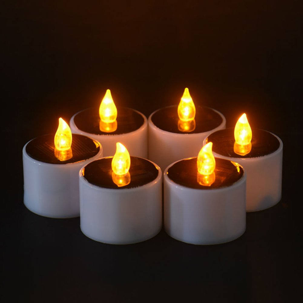 Solar Candles Flameless Rechargeable Candles LED Tea Lights Candles Battery Operated Upgraded Solar Power Waterproof Warm White Candle Set of 6 for Home Bar Bedroom Living Room Garden Outdoor Indoor by EXPOWER (Image #2)