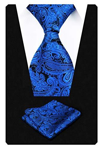 Royal Blue Mens Tie - Men's Paisley Floral Tie Handkerchief Wedding Woven Necktie Set, Royal Blue