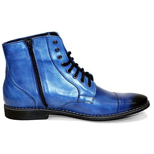 PeppeShoes Modello Blabla - Handmade Italiano da Uomo in Pelle Blu Stivali - Vacchetta Pelle Verniciata a Mano - Allacciare