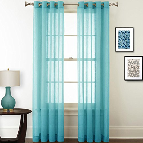 Nicetown Sheer Curtain Panels For Bedroom Window Treatment Pair Of Crushed  Sheer Grommet Top Voile Curtains