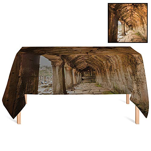 SATVSHOP Decorative Table Cloth /55x120 Rectangular,Ancient Temple Corridor with Sculpture on The Wall in Angkor Thom in SIEM Reap Cambodia Beige.for Wedding/Banquet/Restaurant.