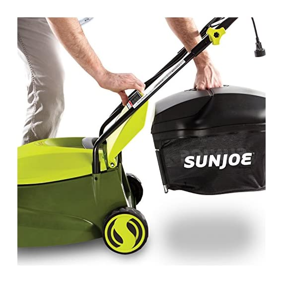 Sun joe mj401e 12 amp electric lawn mower 4 powerful: 13-amp motor cuts a 14-inch wide path adjustable deck: tailor cutting height with 3-position height control steel blades: durable 14-inch steel blade cuts with precision