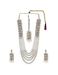 Efulgenz Indian Multi Layered Bollywood Traditional Faux Kundan Pearl Beads Bridal Necklace Earrings Maangtika Wedding Jewelry Set
