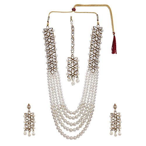 Efulgenz Indian Multi Layered Bollywood Traditional Faux Kundan Pearl Beads Bridal Necklace Earrings Maangtika Wedding Jewelry ()