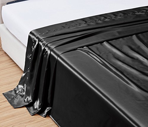 TWIN size, Bridal SATIN Solid Black Flat Bed Sheet - Super Silky & Soft - SALE - High Thread Count - 1500 Series-Wrinkle, Fade, Stain Resistant, Deep Pockets, 100%