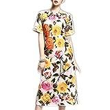 Venetia Morton Fashion Runway Designer Summer Dress Women's Short Sleeve Colored Button Elegant Rose Floral Printed Dress Multi XL