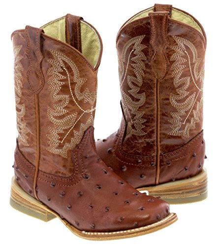 Ostrich Leather Cowboy Boots - 7