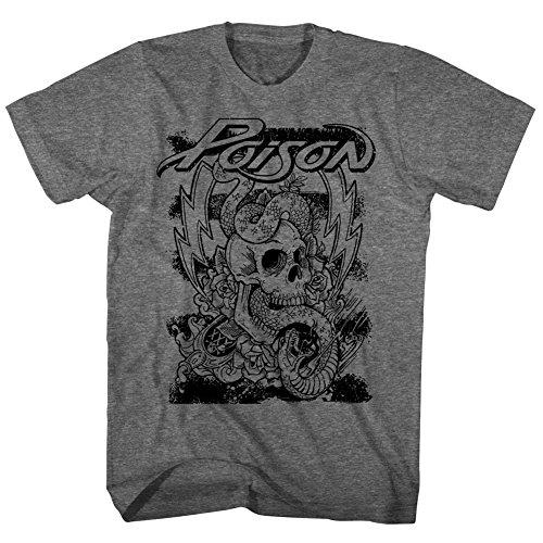 Poison - Skull Snake Lightning - Adult T-Shirt - Large (Michaels Bret Shirt)