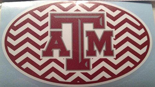 Texas A&M Aggies Oval Chevron Car Decal - TAMU Auto Window Sticker