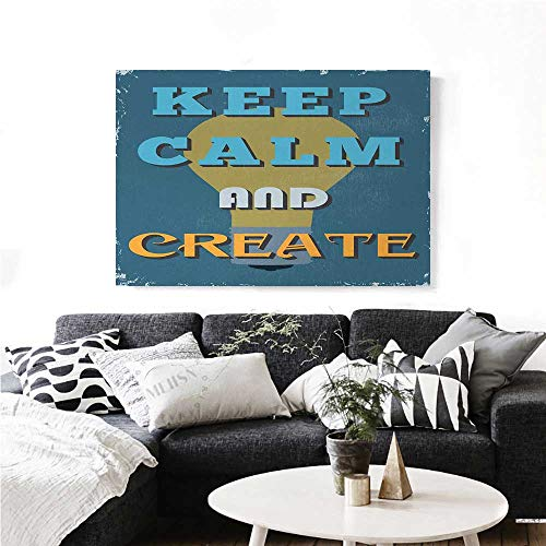 homehot Keep Calm Art-Canvas Prints Vintage Motivational Quote Be Creative Poster Design Coming Up Ideas Modern Wall Art for Living Room Decoration 36