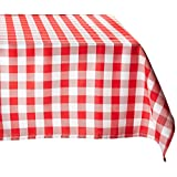 LinenTablecloth 54-Inch Square Polyester Tablecloth Red/White Checker