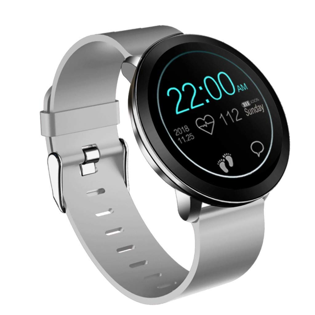 For iOS Android, Color Screen Waterproof Sport Smart Watch Fitness Blood Pressure Heart Rate Monitor Smart Bracelet (Gray)