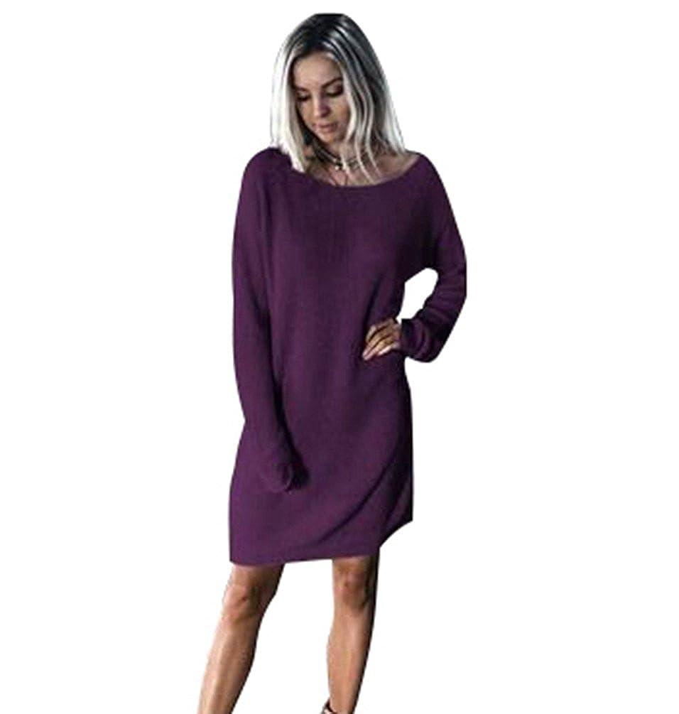 cf53b3219743 NiSeng Vestito in Maglia Donna Casual Vestiti Eleganti Maglioni Il Collo  Rotondo Maniche Lunghe Maglina Abito  Amazon.it  Abbigliamento