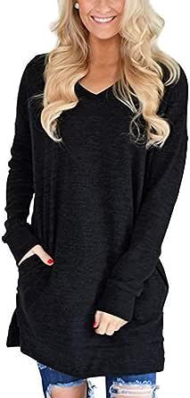 Verano Suelta Nueva Camiseta De Bolsillo con Cuello En V De Manga Larga Dividida Ropa De Mujer: Amazon.es: Ropa y accesorios