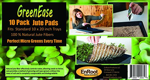 GreenEase Jute Microgreens Hydroponic Grow Pads - 10 Pack, Fits 10x20 standard nursery tray. Grow nutritious Organic Microgreens, Wheat grass, Plant and Seed germination. Organic Use Certified. by EnRoot Products LLC