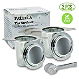 2 pcs Stainless Steel Tea Infuser Premium Mesh Tea Strainer Filters Tea Interval Diffusers Set of 2 for Loose Leaf Tea (1Pc Free Tea Scoop Included)