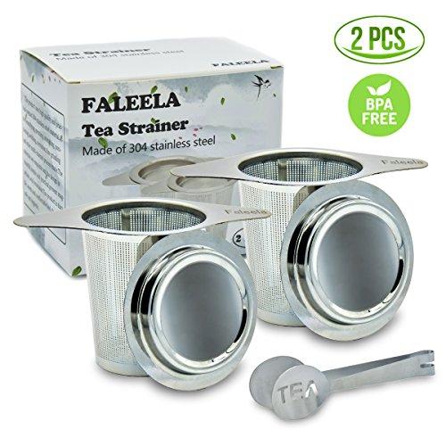 2 pcs Stainless Steel Tea Infuser Premium Mesh Tea Strainer Filters Tea Interval Diffusers Set of 2 for Loose Leaf Tea (1Pc Free Tea Scoop Included) by faleela