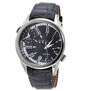 Haurex Italy Big Fly Gray Dial Watch #6J353UG1 - Reloj de caballero de cuarzo, correa de piel color gris
