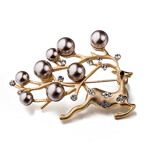 - Gloria Trend Golden Stunning Reindeer Pearl Rhinestone Christmas Deer Pin Brooch