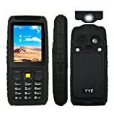 Rugged GSM Cell Phone, Unlocked Cell Phone Power Bank Tough Mobile Phone Features Phone with Large Capacity Battery/waterproof Loudspeaker/High Flashlight - Black