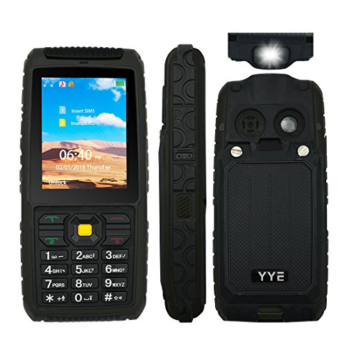 Rugged GSM Cell Phone, Unlocked Cell Phone Power Bank Tough Mobile Phone Features Phone with Large Capacity Battery/ waterproof Loudspeaker / High Flashlight - Black