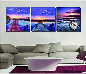 Pintura en lienzo HD 3 PIEZAS Cuadros de pared para sala de estar Impresiones de pintura al óleo sobre lienzo Paisaje abstracto Cielo azul Mar Camino de madera -40CM*40CM*3