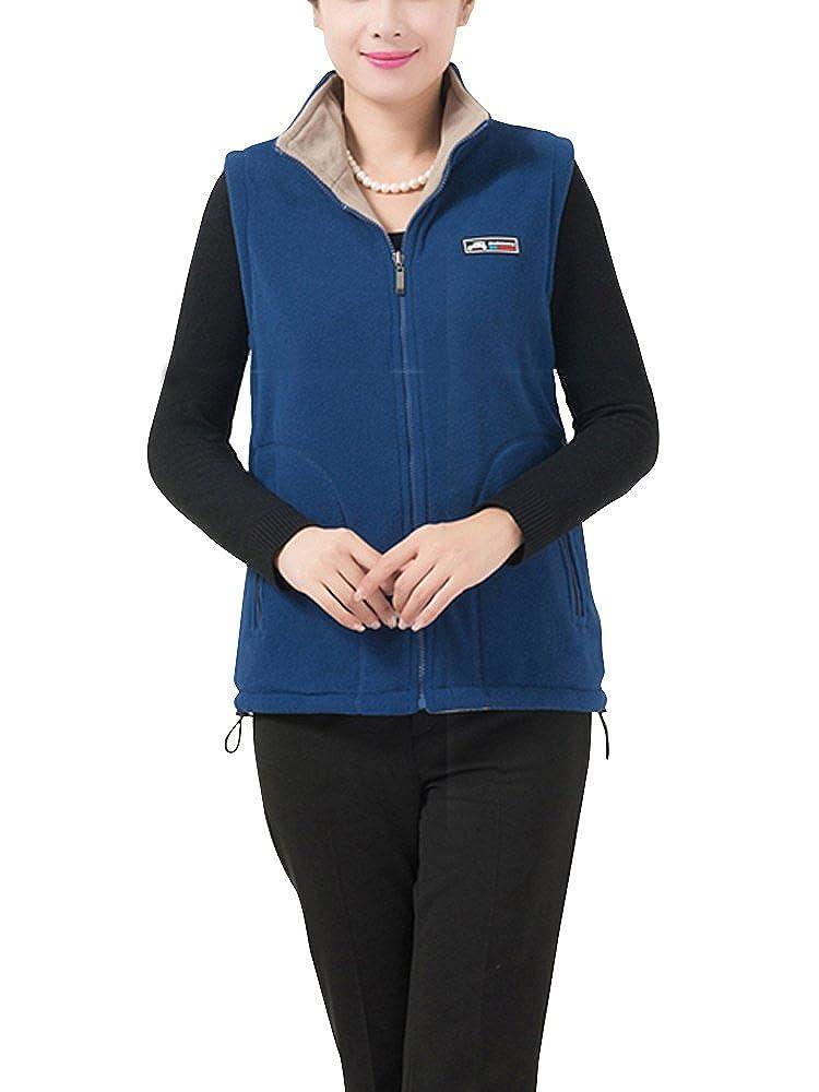 Womens Spring Fall Warm Lightweight Full Zip Windproof Ultra Soft Fleece Vest with Pockets